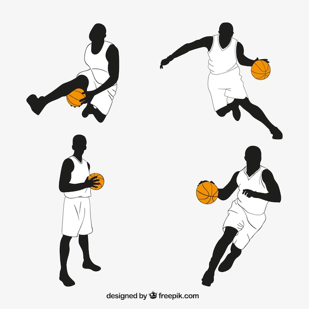 Pack of hand drawn basketball players Vector | Free Download