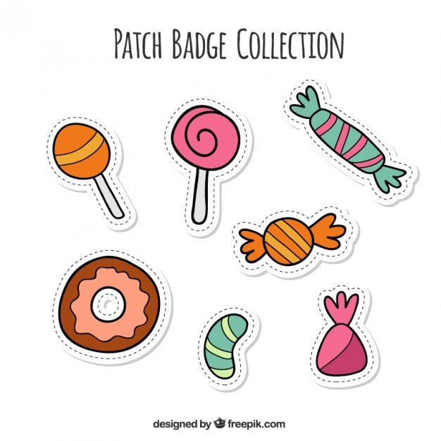 Pack of hand-drawn candy stickers  Free Vector