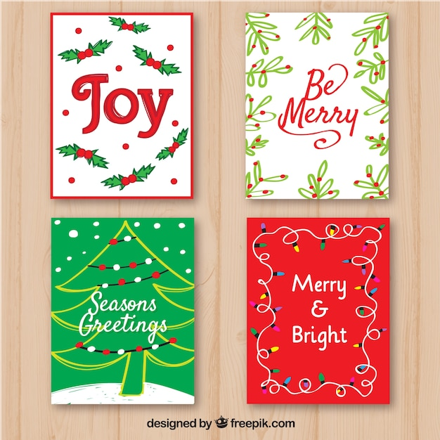 Pack of hand drawn christmas decorative cards