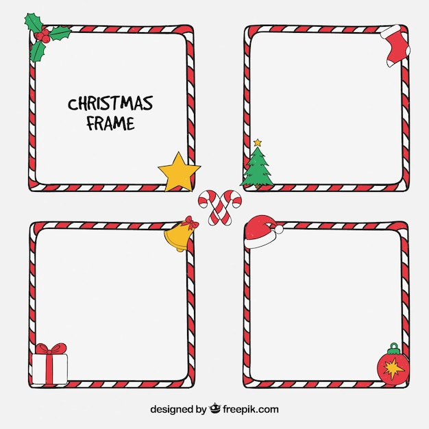 Pack of hand-drawn christmas frames