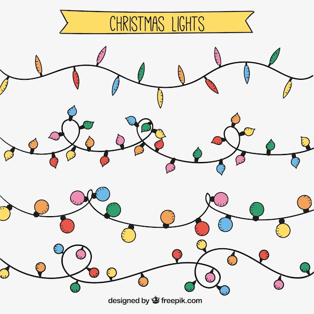 String Lights Doodle : Pack of hand drawn christmas string lights Vector Free Download