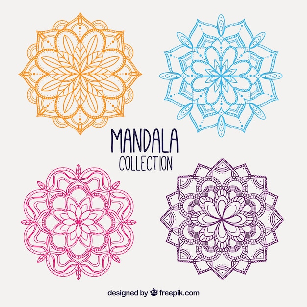 Pack of hand drawn colored mandalas