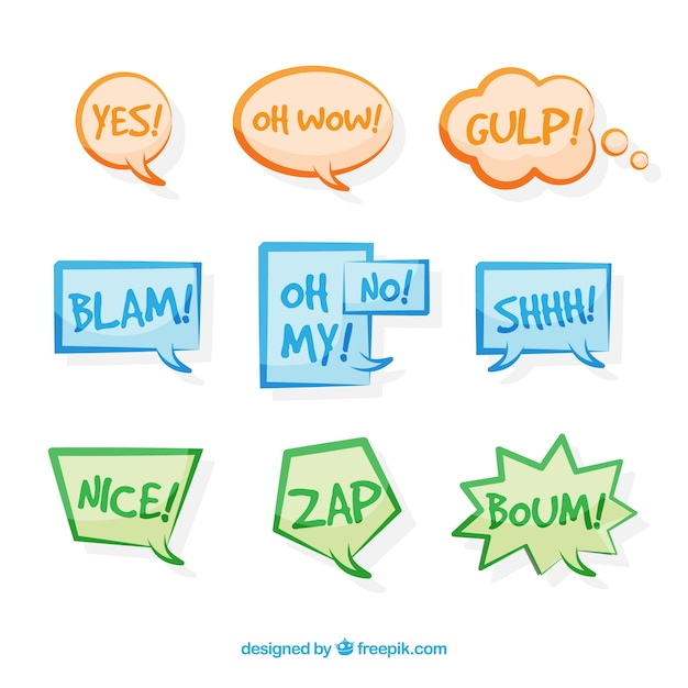 Pack of hand-drawn colored speech bubbles with onomatopoeia