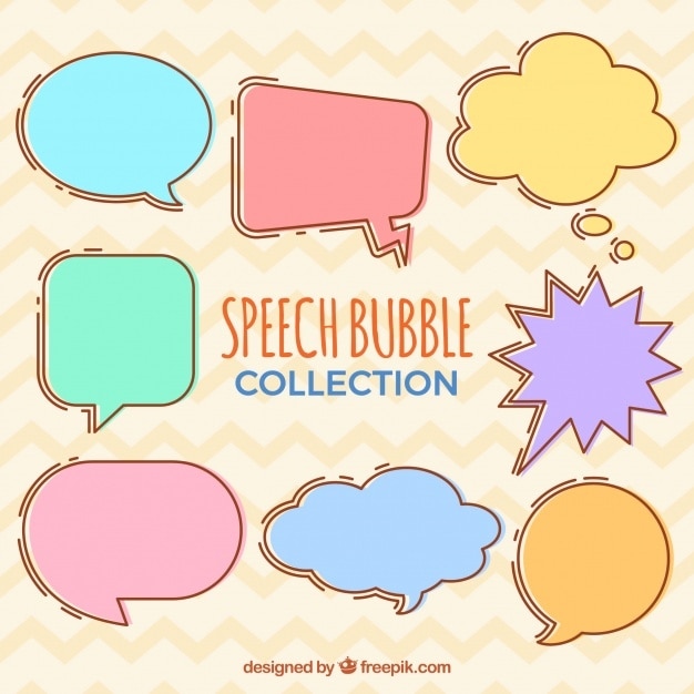 Pack of hand drawn colored speech bubbles
