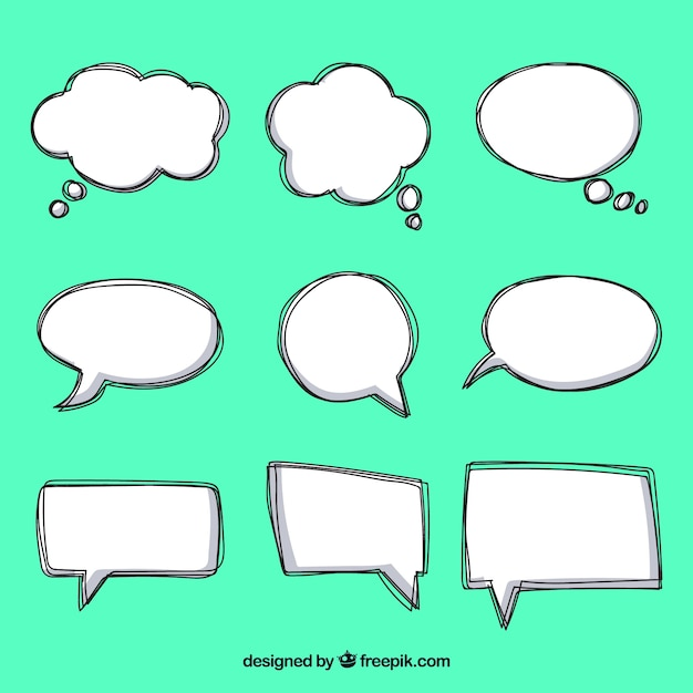 Pack of hand drawn comic speech bubbles