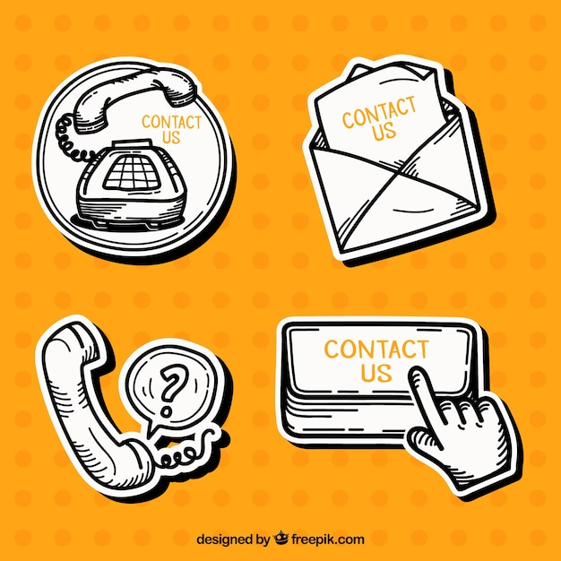 Pack of hand drawn contact stickers free vector