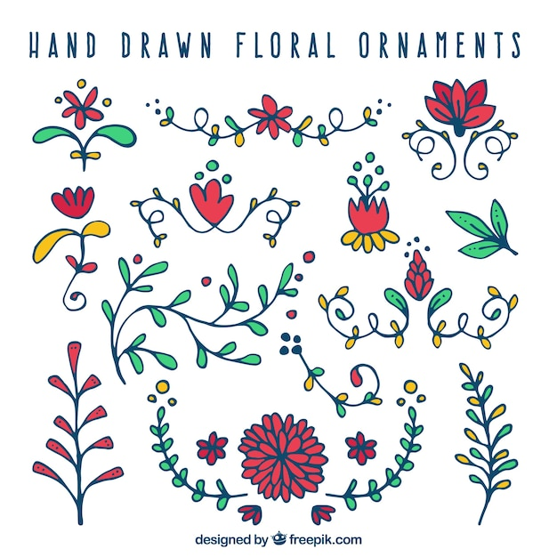Pack of hand drawn decorative flowers of colors