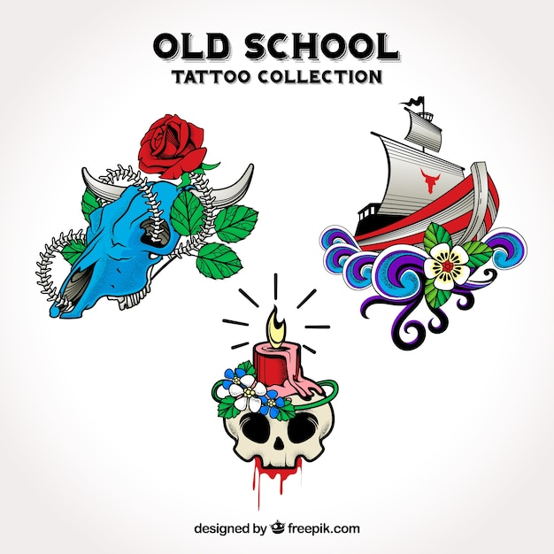 Pack of hand drawn decorative tattoos