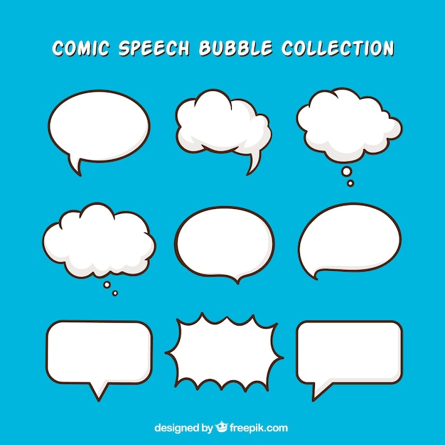 Pack of hand drawn dialog balloons Free Vector