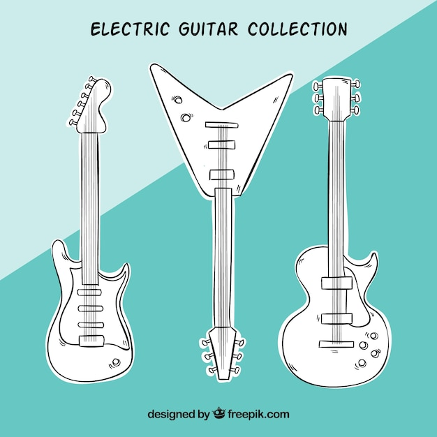 Pack of hand-drawn electric guitars Vector | Free Download