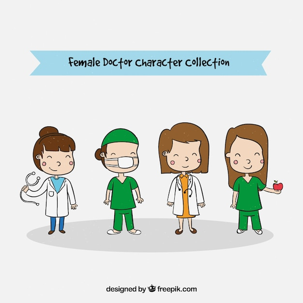 Pack of hand drawn female characters of doctors