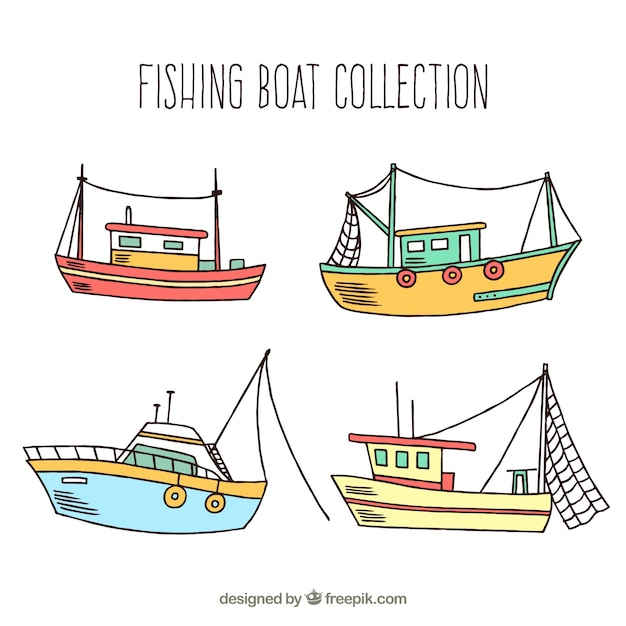 Pack of hand-drawn fishing boats