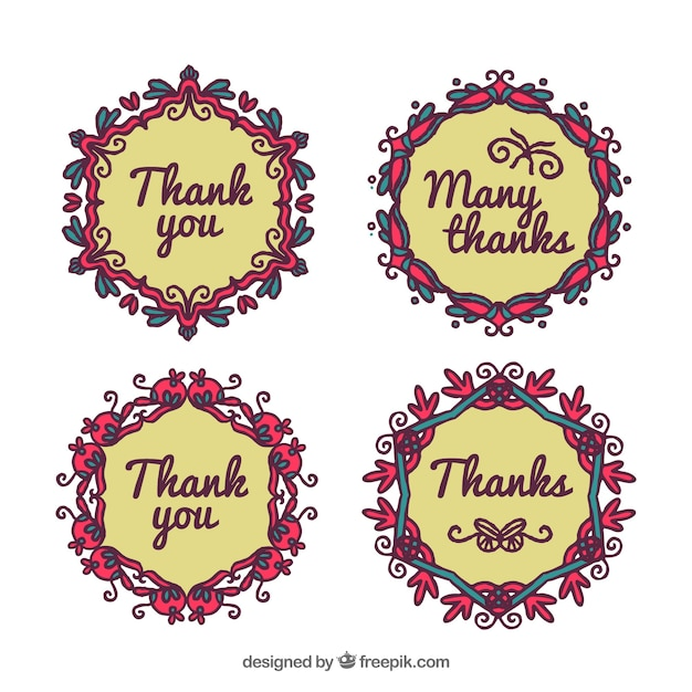 Pack of hand drawn floral stickers with message of thanks