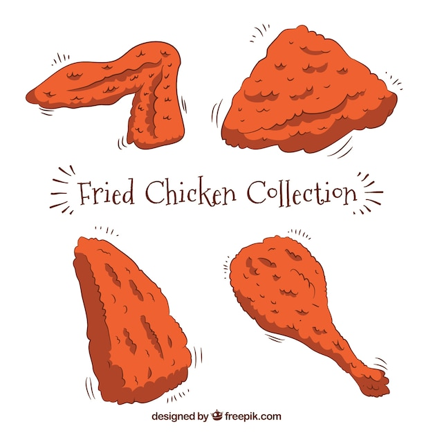 Pack of hand-drawn fried chicken