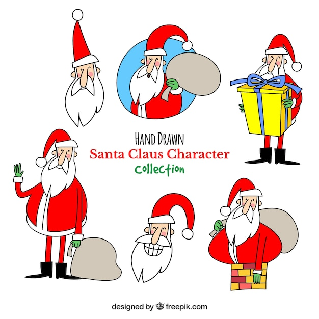 Pack of hand drawn funny santa claus
