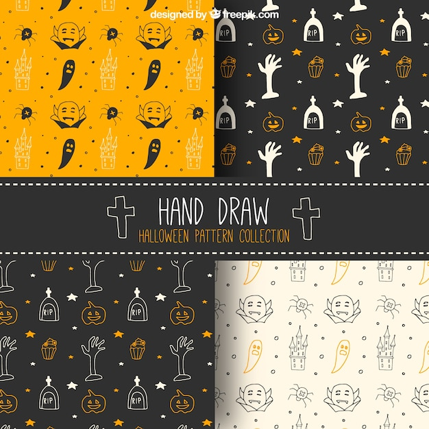 Pack of hand drawn halloween patterns