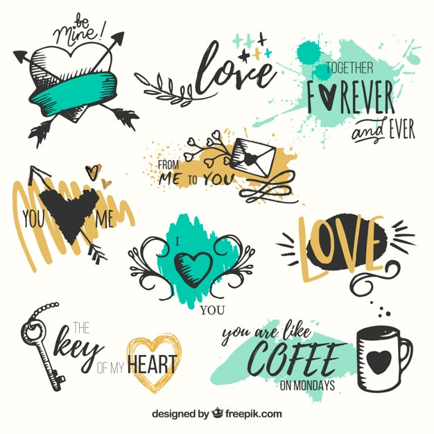 Pack of hand drawn hearts with phrases Free Vector