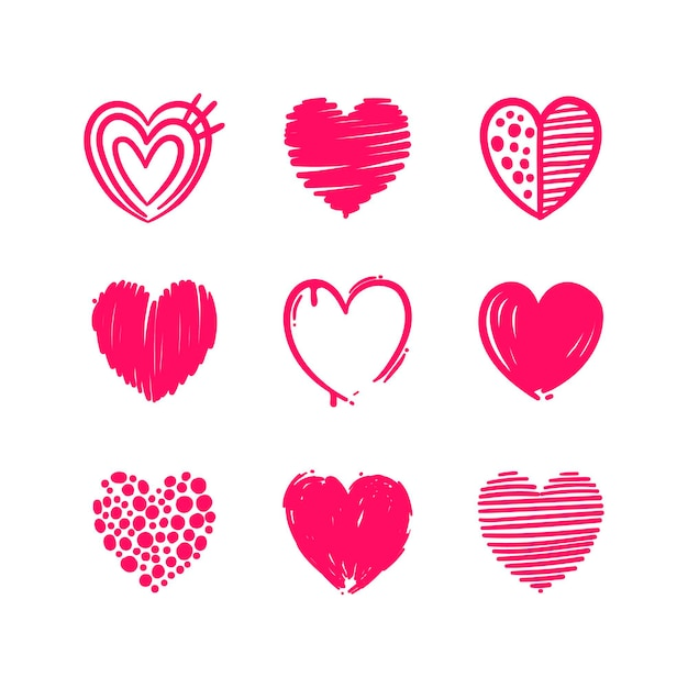 Пакет рисованной сердца Бесплатные векторы