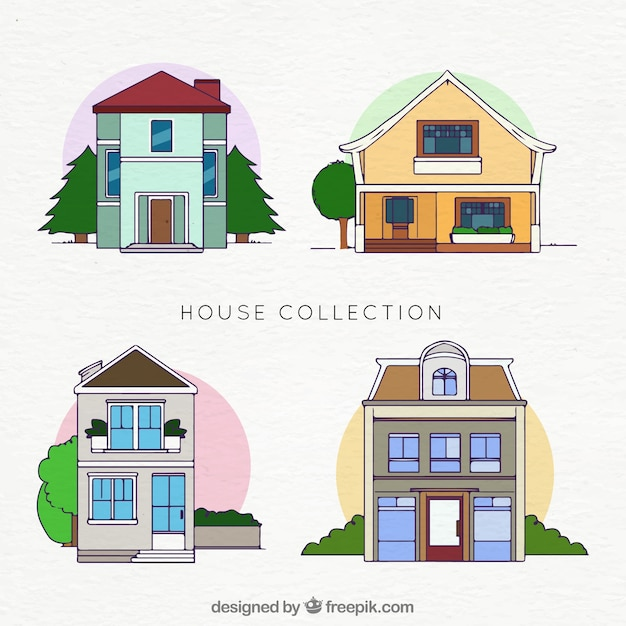 Pack of hand drawn houses facades