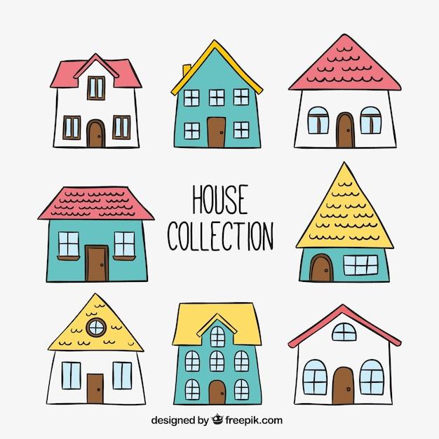 Упаковка из рисованной домов Бесплатные векторы