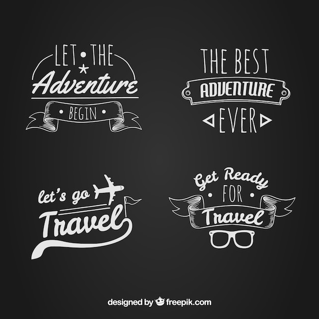 Pack of hand drawn logos with travel messages