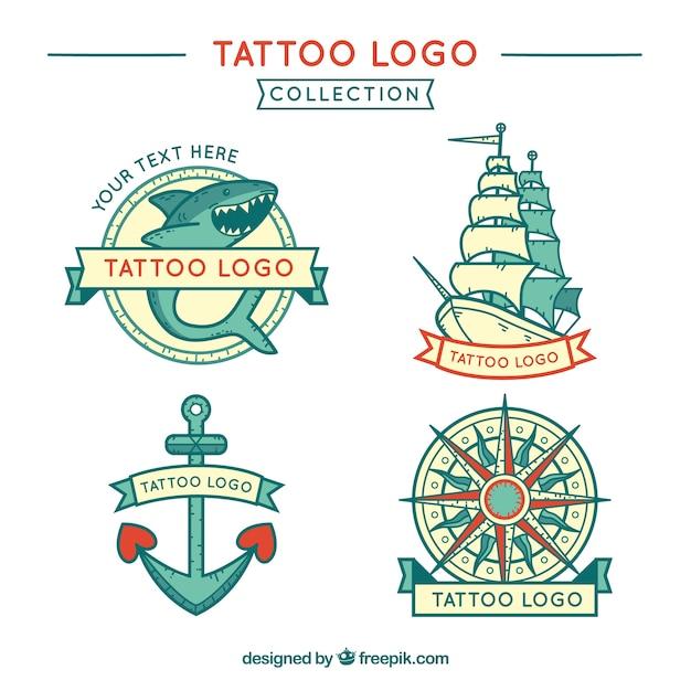 Pack of hand drawn marine tattoos logos