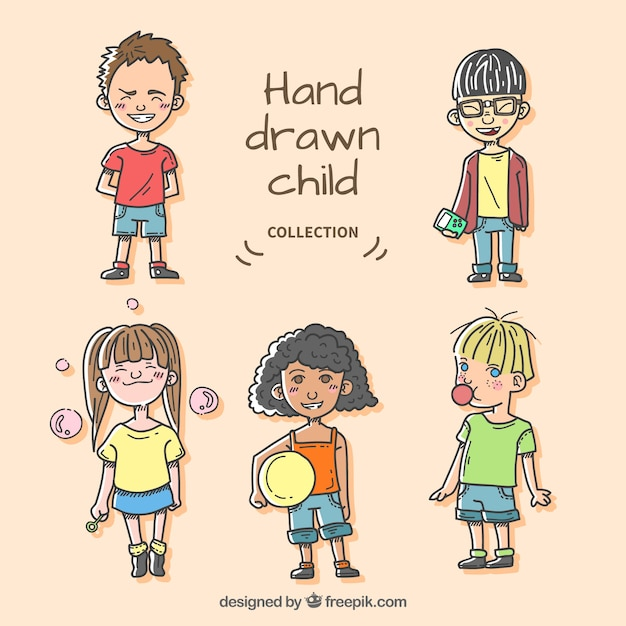 Pack of hand drawn modern children characters