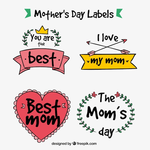 Pack of hand-drawn mother\'s day stickers