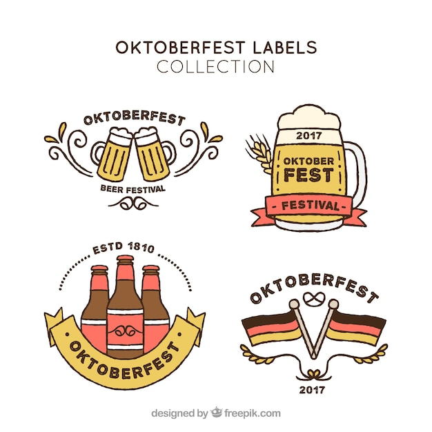 Pack of hand drawn oktoberfest stickers