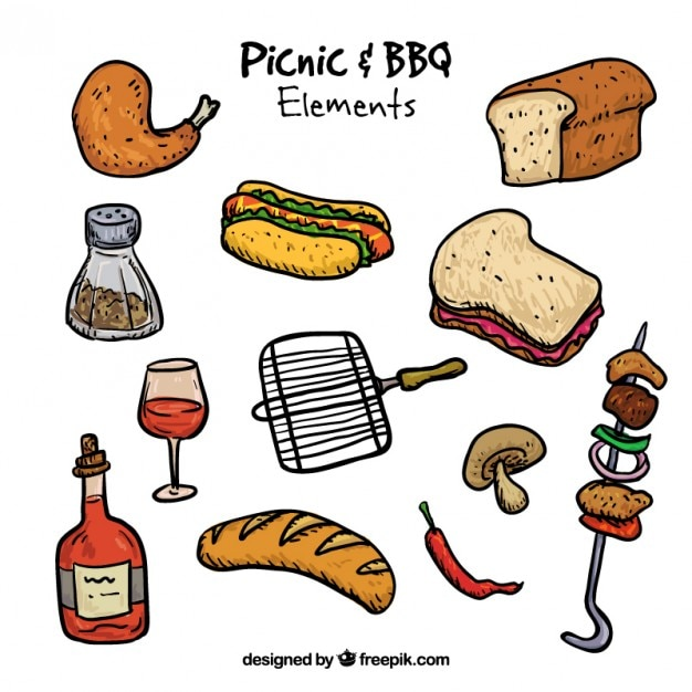 Pack of hand drawn picnic and bbq\ ingredients