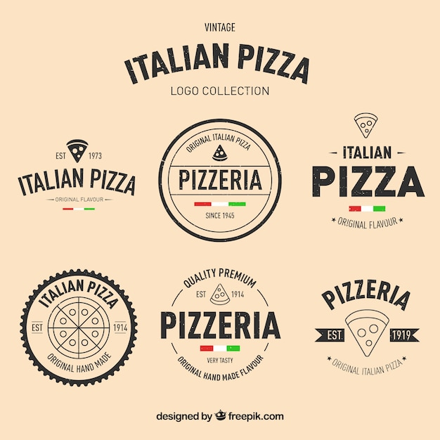 Pack of hand-drawn pizza logos in vintage style