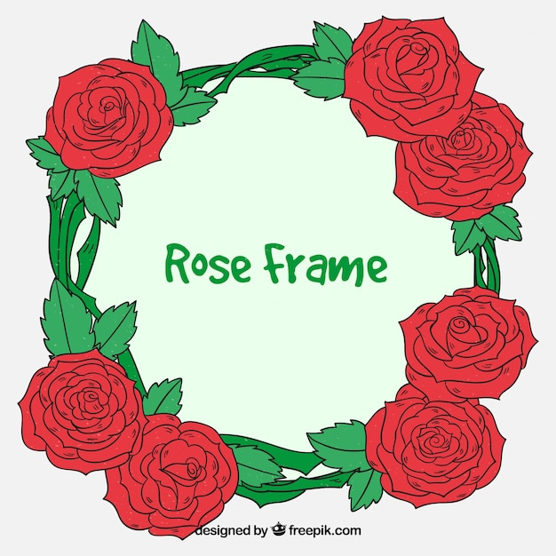 Pack of hand drawn roses frame