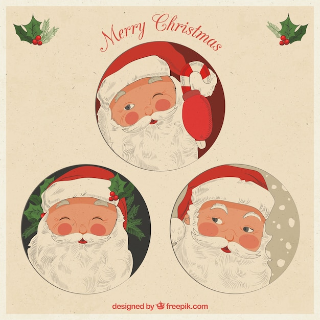 Pack of  hand drawn santa claus card in vintage style Free Vector
