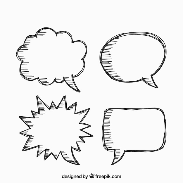 Pack of hand-drawn speech bubbles