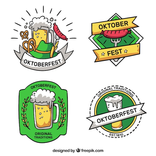 Pack of hand drawn stickers from oktoberfest