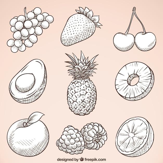Пакет рисованных вкусных фруктов Бесплатные векторы