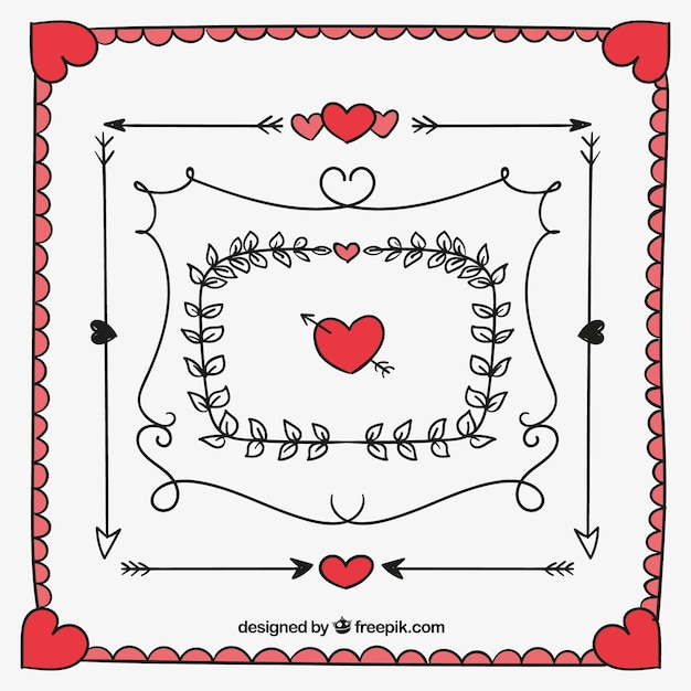 Pack of hand-drawn valentine frames and borders Vector | Free Download