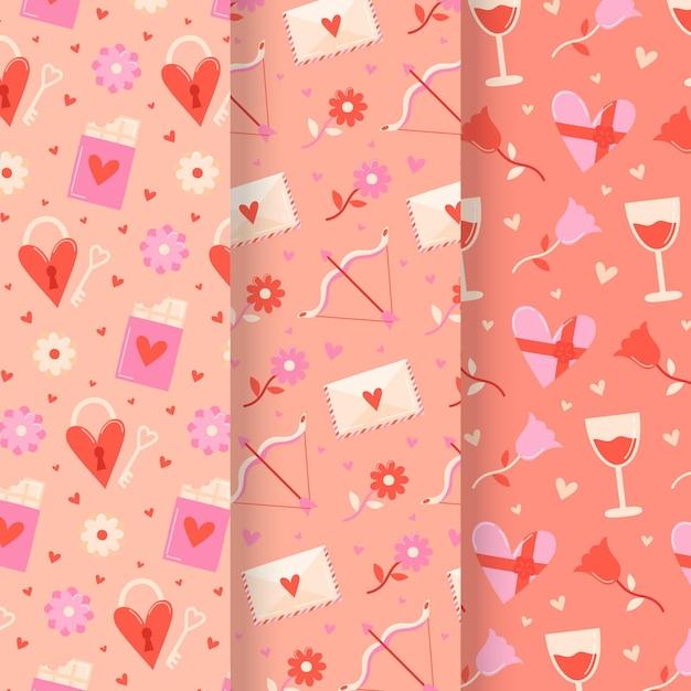 손으로 그린 발렌타인 패턴 팩 무료 벡터