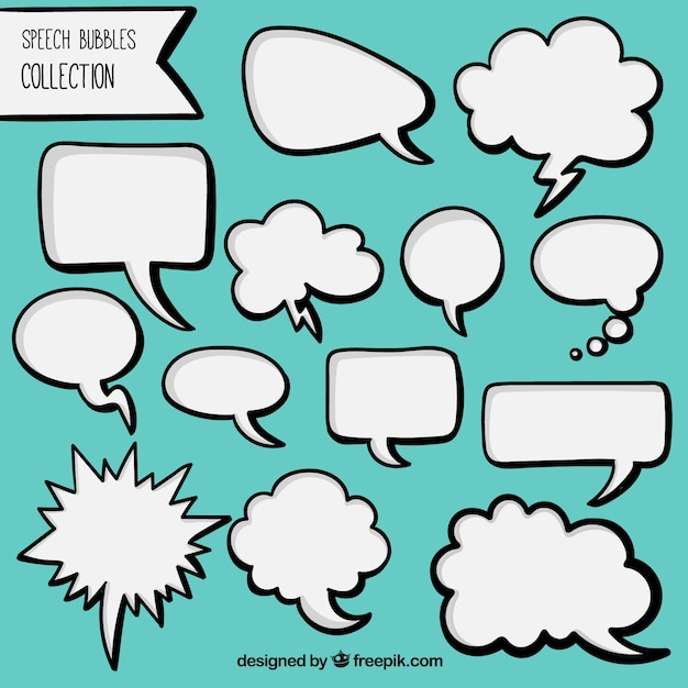 Pack of hand drawn white comic speech bubbles Free Vector