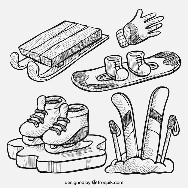 Pack of hand drawn winter sports\ equipment