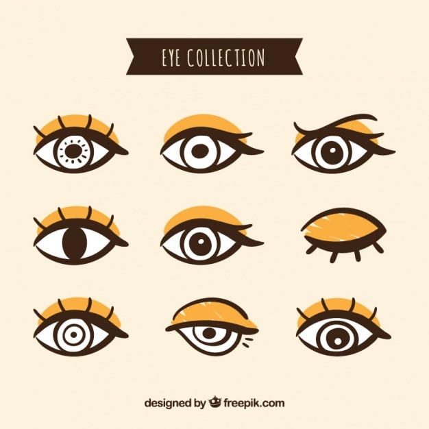 手描きの女性の目のパック 無料ベクター
