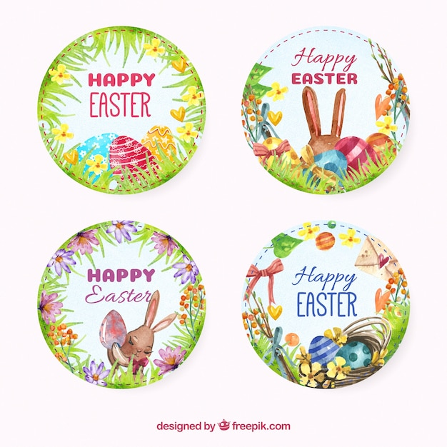 Pack of happy easter watercolor round stickers free vector