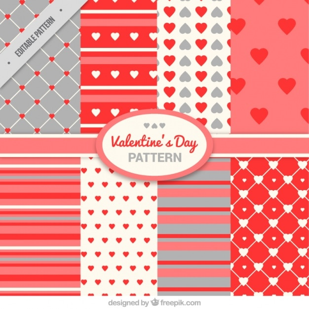 Pack of hearts and stripes patterns for valentine Free Vector