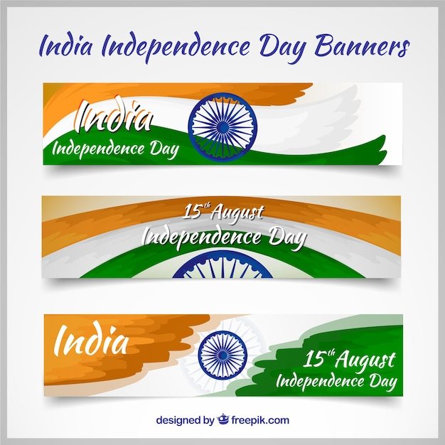 Pack of india banners with flag