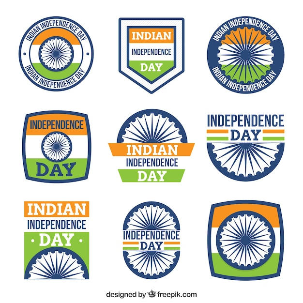 Pack of india retro independence day insignia