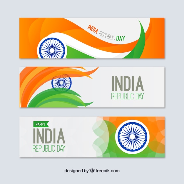 Pack of indian republica day banners