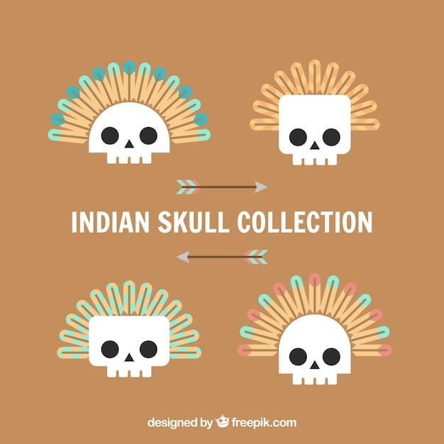 Pack of indian skulls in flat design
