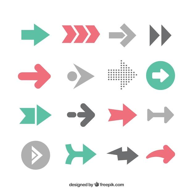 평면 디자인의 Infographic 화살표 팩 프리미엄 벡터