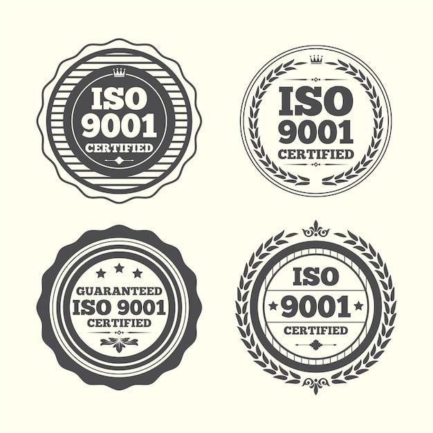 Пакет штампа сертификации iso Бесплатные векторы