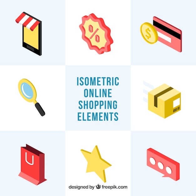 Pack of isometric accessories for online shopping